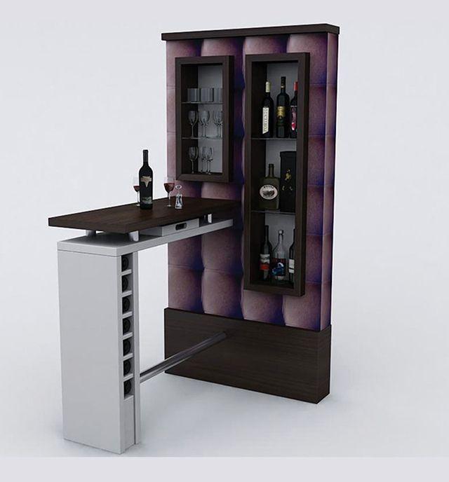 Un Stand para bar con un estilo muy minimalista, elegante y vistoso para el hogar. imuebles.mx