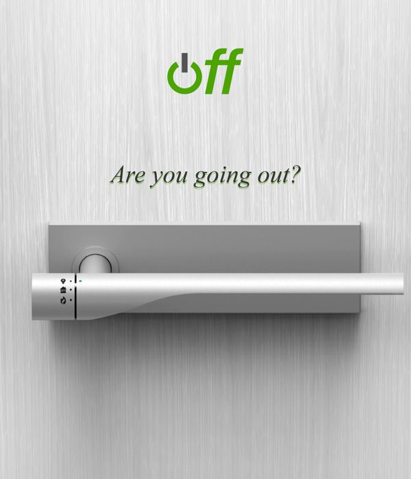 Brilliant! // A door handle that can turn your electricity and gas off when you leave.