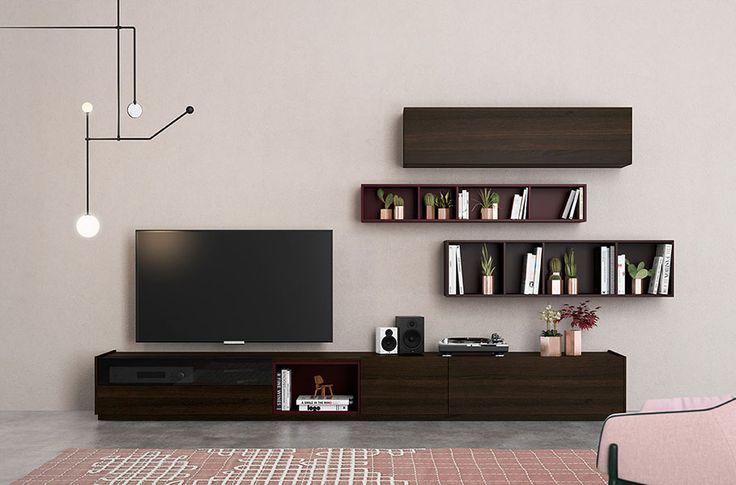 Ideas para salones modernos / contemporáneos. Composiciones modulares libres con roble fumé, cristal parasol gris, burdeos mate y vino mate. Living room. Como decorar el salón moderno.