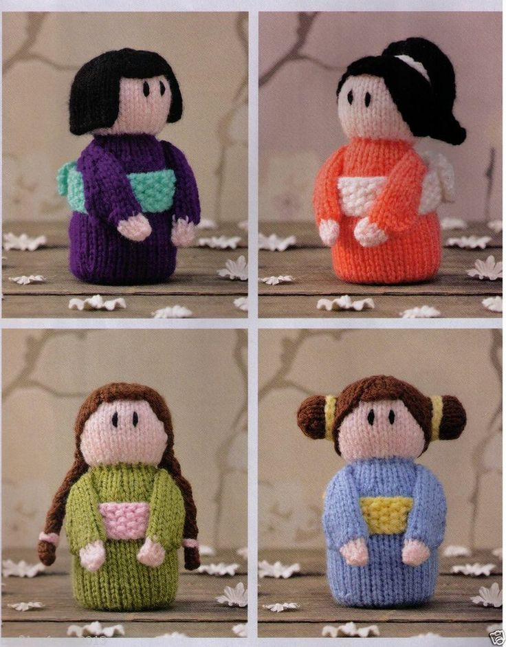 JAPANESE KIMONO SMALL DOLLS SET OF 6 GREAT GIFTS- 11 CMS- 8PLY KNITTING PATTERN