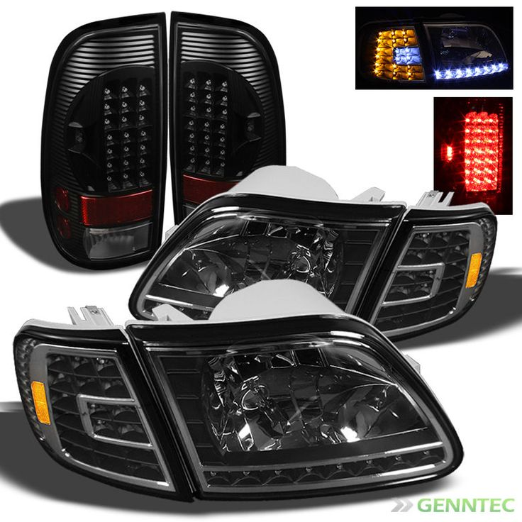 99 F150 Black: For 97-03 F150, 97-99 F250LD Black Headlights + LED Corner