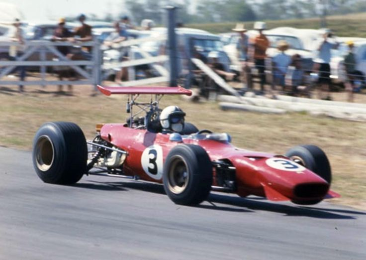 Chris Amon winning the 1969 Australian Grand Prix at Lakeside, Ferrari Dino 246T (Rod MacKenzie)...