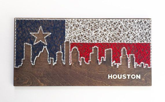 Houston Skyline String Art Texas Flag by CactusCustomDesigns