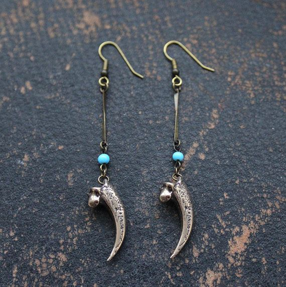 Owl Talon and Turquoise Earrings - Primal Elegance - Moon Raven Designs Our tiny owl talons are the perfectly tiny. We have included them in as earrings in our Primal Elegance line. Primal Elegance is taking our Moon Raven Designs pieces and giving them an Elegant Twist. Our little 1 owl talon