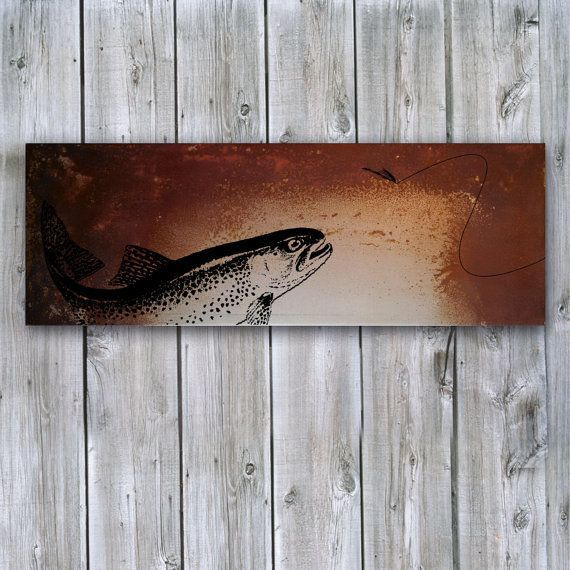 Rustic artwork fly fishing for trout on rusted metal for Fly fishing decor