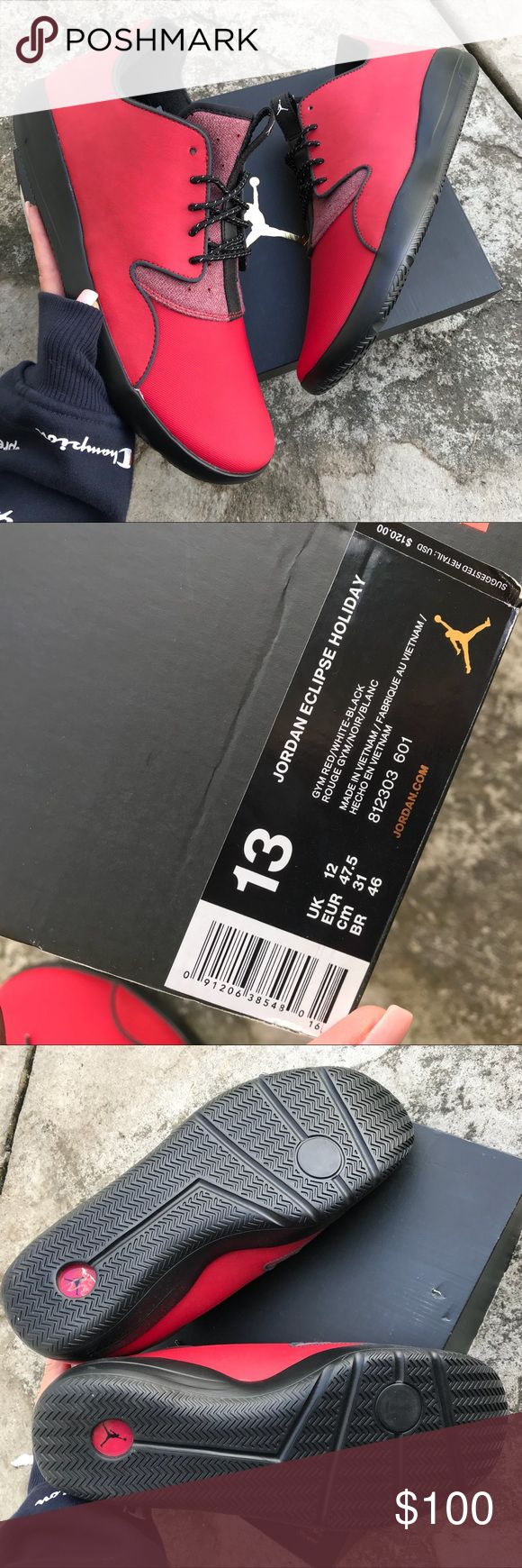 NEW 😍 NIKE JORDAN ECLIPSE SIZE 13 MEN   HOLIDAY IT'S NOT TOO EARLY TO GET IN THE SPIRIT WITH THESE HOLIDAY EDITION NIKE JORDAN ECLIPSE! ❤️☃️ New & never worn MENS SZ 13. Original Nike JORDAN BOX (no lid)! Textile & leather upper, blackout non marking sole! 🎁 ships same or next day from my smoke free home.   PRICE is FIRM, offers will be considered through the offer button only. Bundle items to save. ❤️✨ full retail $120.   Checkout all my NIKE listings. ⚡️100% authentic Nike product…