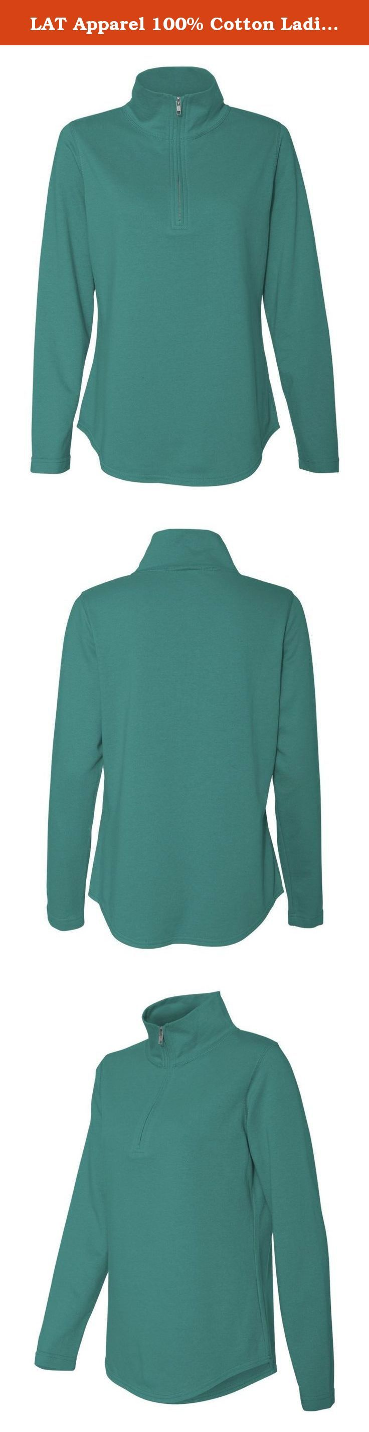 LAT Apparel 100% Cotton Ladies French Terry 1/4 Zip Hoodie [X Large] Jade Blue Long Sleeve Sweater. Stay stylish in cooler weather with these 1/4-zip sweatshirts for women. Lightweight French Terry fleece is the perfect fabric for year round warmth. Hemmed sleeves and shirt tail bottom give these basic sweatshirts an upscale look. Looks great layered or worn alone. These quarter zip sweatshirts come in 7 fashionable colors for fall!.
