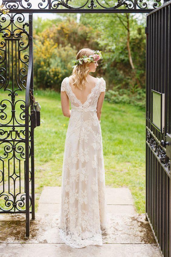 Simple Elegant V Back Long Lace Bride Dress, Long Sleeve A Line Lace Wedding Dress