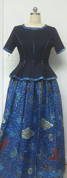 DENWAX Collection. African Print Maxi Skirt. Inside Pockets. Denim Fitted Top. Handmade. Womens Clothing.