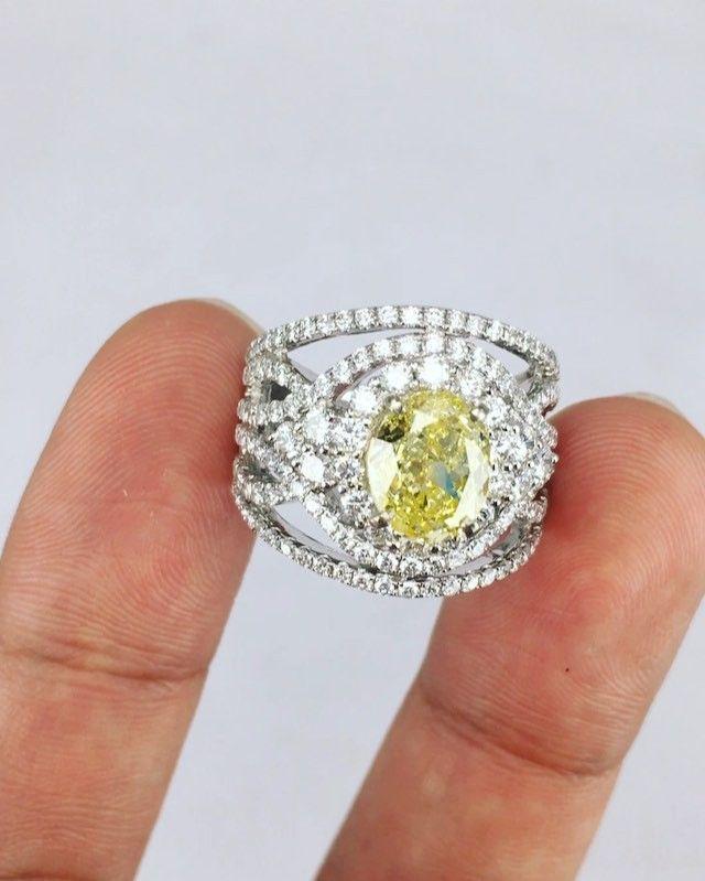 Burmese Spinel. 2.5ct Fancy Intense Yellow Diamond Ring.