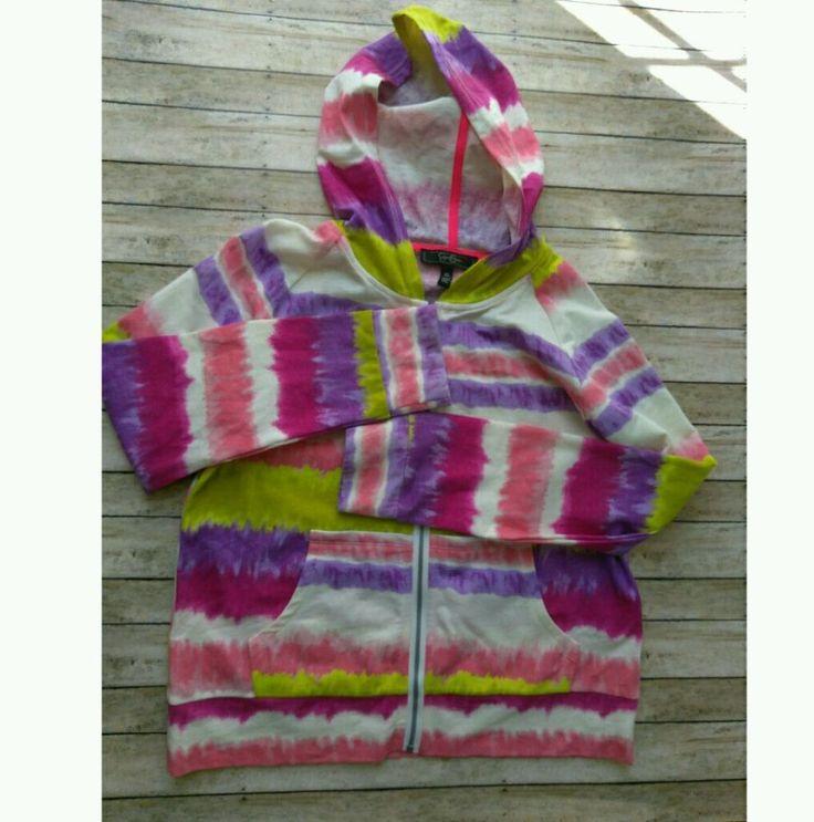Jessica Simpson Hoodie Girls Tie Dye Kids Multi Color Jacket Zipper Size XL Pink #JessicaSimpson #DressyEverydayHoliday