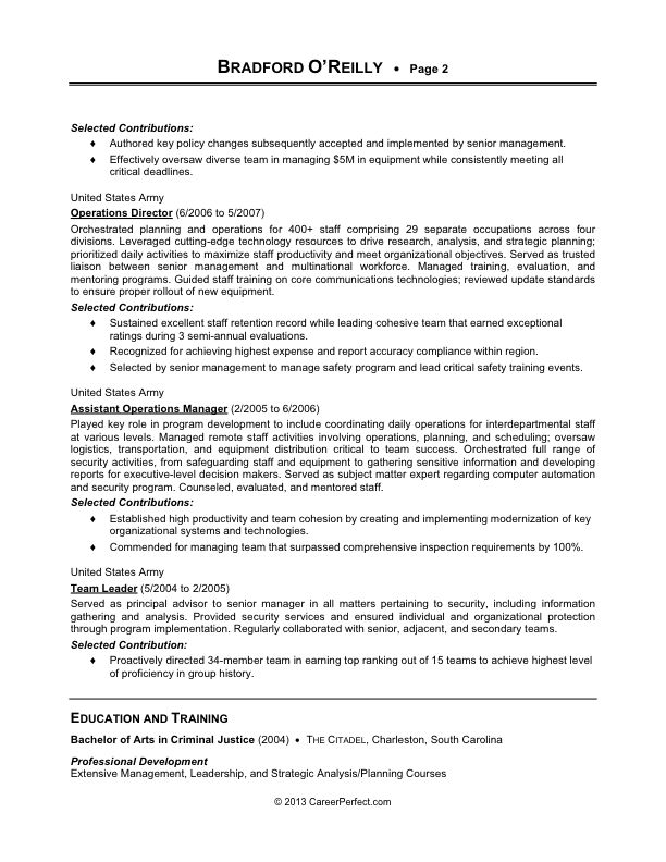 Military-to-Civilian Conversion  - Sample Resume for Logistics (after) [page 2]