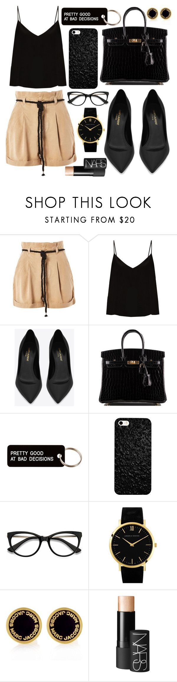 """""""Pretty Good At Bad Decisions"""" by katie-longmore ❤ liked on Polyvore featuring Topshop, Raey, Yves Saint Laurent, Hermès, Various Projects, EyeBuyDirect.com, Larsson & Jennings, Marc Jacobs and NARS Cosmetics"""