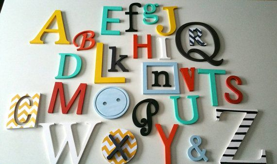 Alphabet wall wooden painted and decorated. Wall by MissiCreation