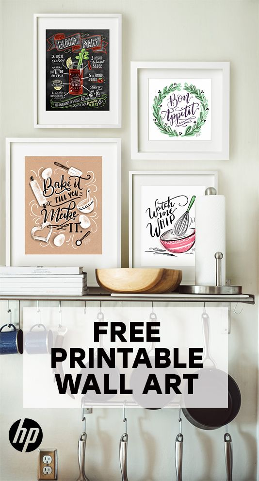 Decorate your kitchen wall with free printable art from HP. Hang one piece to shine on its own or mix and match to create a gallery wall. Tap this Pin to find a range of free printables for every room in the home, and discover quotes, bold graphics, alphabet letters, modern art and more. Just print on your HP printer & frame!