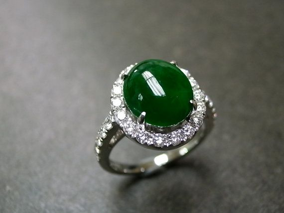 Jade Diamond Ring in 18K White Gold by honngaijewelry on Etsy, $2740.00