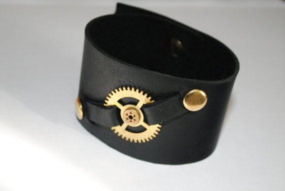 Black leather cuff Steampunk bracelet Watch gear Biker by NioNia
