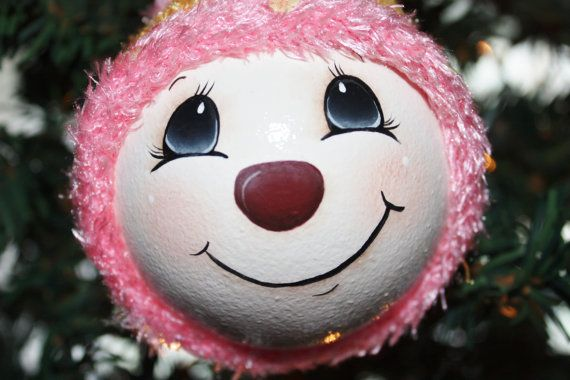 """Hand Painted, """"Whimsical Snowgirl"""",  Large Light Bulb Ornament"""