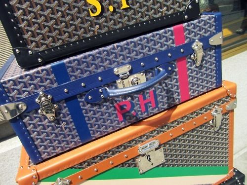 monogrammed goyard trunks. the ultimate in indulgent travel.