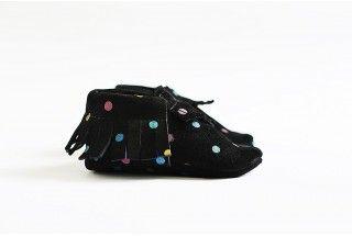 Black suede polka dot moccasins