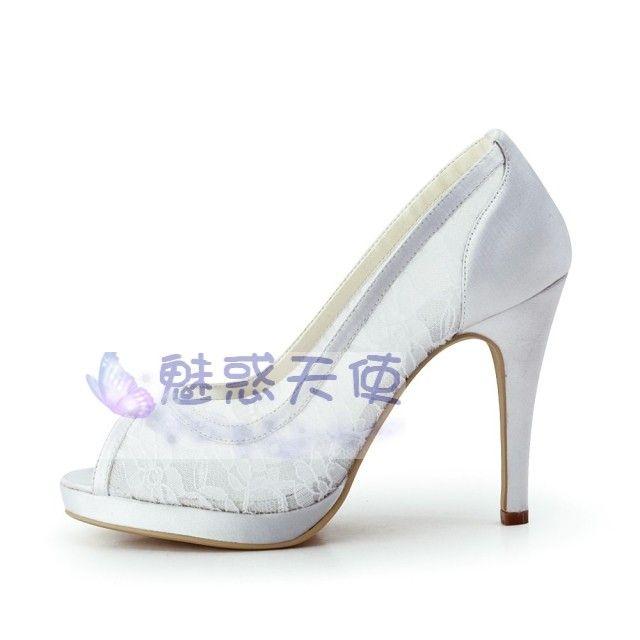 Trade Handmade White Lace Wedding Shoes Fish Head High Heeled Satin Bridal
