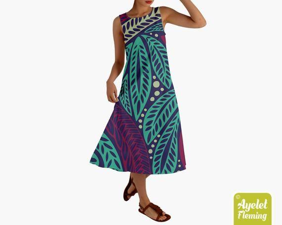 Samoan dress Polynesian dress Blue golden tiki dress XS-2XL