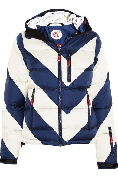 striped quilted shell down jacket