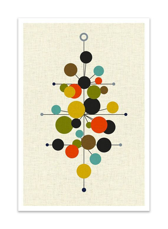 RADIATE  Giclee Print  Mid Century Modern Danish Modern by Thedor, $24.00