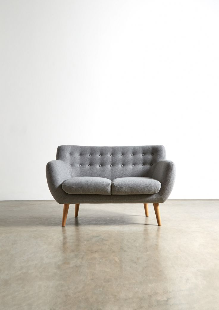 The MIMI Two Seater Sofa - in Granite Grey Wool - Swoon Editions - swooneditions.com