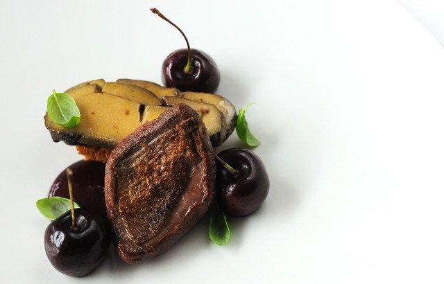 Pigeon, coffee-cured foie gras, Isle of Wight cherries and spiced bread - Luke Holder