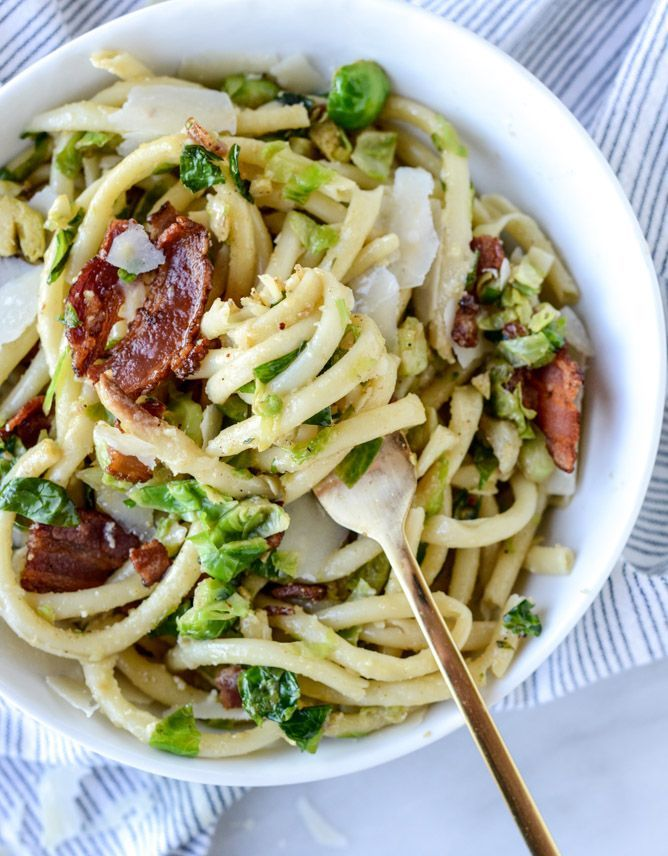 bacon, egg and brussels carbonara I http://howsweeteats.com