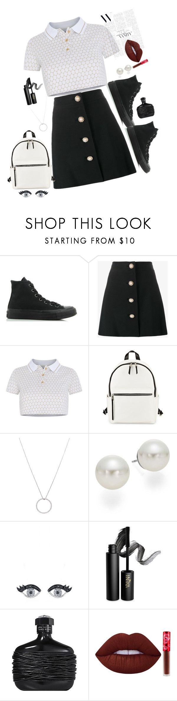 """▪️monochrome▫️"" by taranbystarlight ❤ liked on Polyvore featuring Converse, Miu Miu, Adriana Iglesias, French Connection, Roberto Coin, AK Anne Klein, INIKA, John Varvatos and Lime Crime"