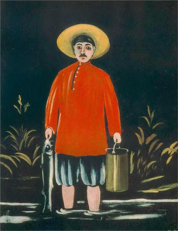 Fisherman in a Red Shirt, 1908-Niko Pirosmani - Featured Artworks
