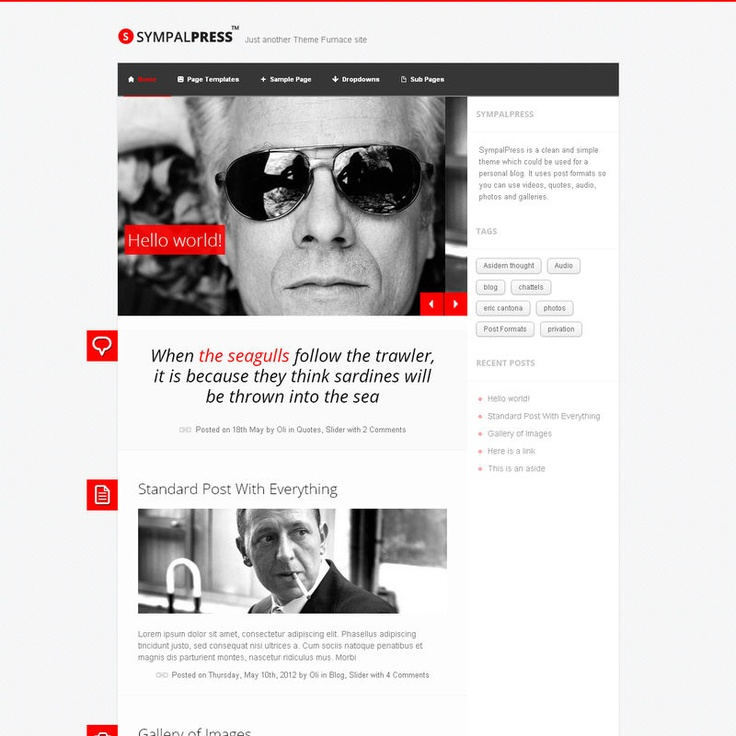 SympalPress is  responsive theme for personal bloggers. It has a clean uncluttered design and uses Post Formats so you can let your content do the talking. Post Videos, Audio, Quotes, Photos and Galleries and know your content looks good on any size screen. The homepage has a slider which is controlled on phones and tablets by swipe gestures, you can customize the colors with the Theme Customizer and choose between a light version or dark version.