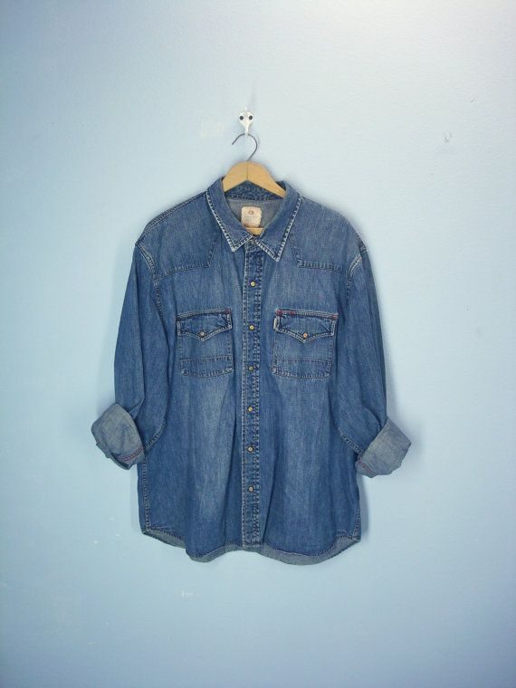Mens Vintage Denim Shirt Western Wood Snap by ShirleyBoutique