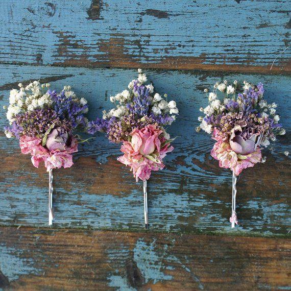 Jewel Rose Garden Dried Flower Hair Grips Set Of 3 Flower Crown
