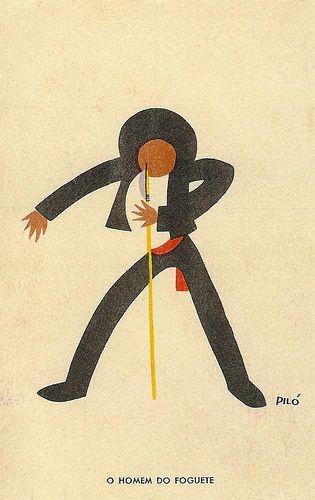 Piló (Pilo da Silva, 1905-1988), O Homem do Foguete, bilhete postal número 1 da série Aldeia Portuguesa – Romaria. Edição de António Vieira, Lisboa. Década de 1940 ou 1950.