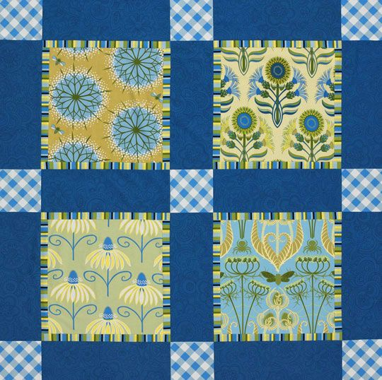 Big block throw.  An easy pattern using fat quarters.  Especially nice for those large, bold prints you don't want to cut.  :-)