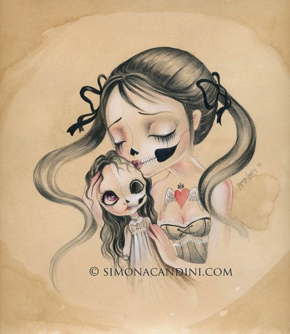 Kiss Me LIMITED EDITION print signed numbered Simona Candini Art Bones And Poetry skully girl lowbrow pop surreal big eyes Blythe doll on Etsy, $30.00