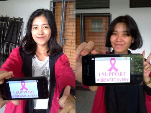 Hello! They're Diva and Dilla from Humas Fikom Unpad. They support #breastcavery