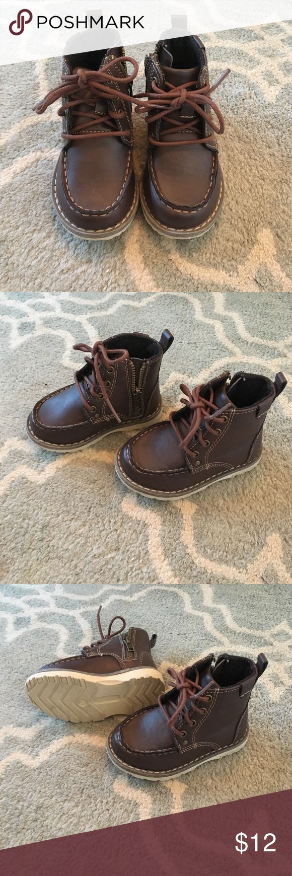 Toddler Brown Boots Like New, Faux Leather Toddler Boys Hiking Boots with Laces and Side Zip for Easy On/Off Shoes
