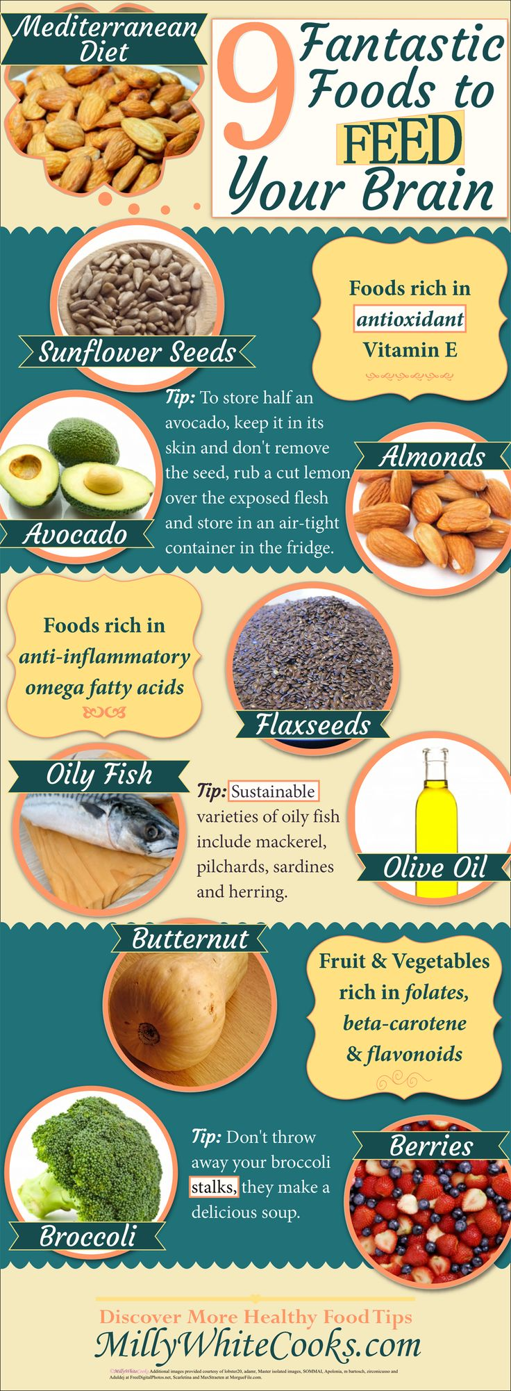 You probably know that the Mediterranean Diet can help lower cholesterol but did you know that it can also help prevent cognitive decline in older age? Discover 9 Fantastic Foods to Feed Your Brain on the #Mediterraneandiet @ http://www.millywhitecooks.com/2015/08/9-Fantastic-Foods-For-Brain-Health-Mediterranean-Diet.html #infographic #healthyeating