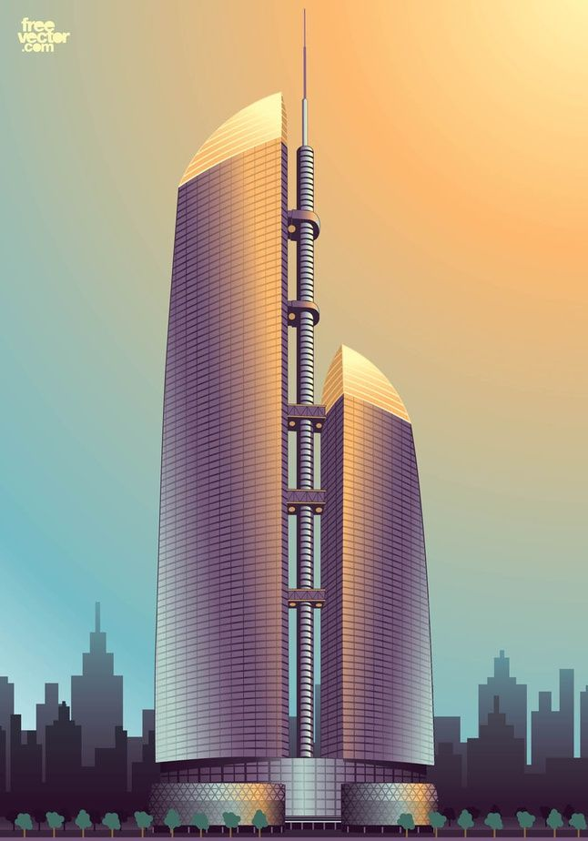 Federation Tower: High-rise towers vector illustration. International business complex of skyscrapers in Moscow, Russia. Built on one podium, the construction exists of two towers: the 62-storey Tower West and the 93-storey Tower East. Download Russian skyscrapers and skyline in Illustrator vector art format.  Moscow Skyscrapers by Pixecute for FreeVector.com License: CC 3.0 Attribution Non-Commercial
