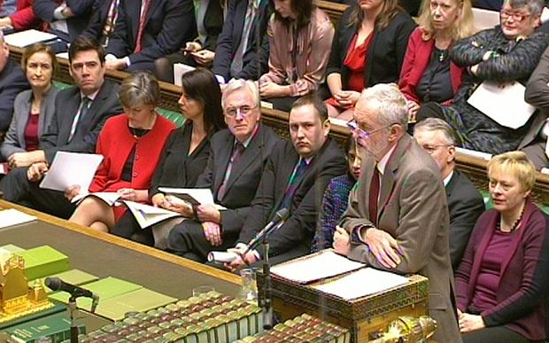 Labour party leader Jeremy Corbyn speaks during Prime Minister's Questions