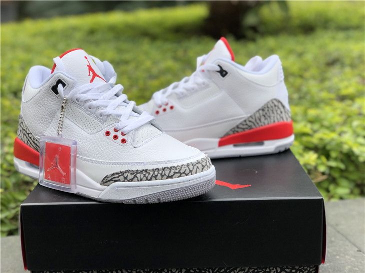 "2018 Cheap Air Jordan 3 ""Katrina"" White Cement Grey Black-Fire Red ... 133e84b88"