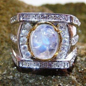 Bali Ethnic Style Blue Moonstone Silver 925 Ring by indogemsjewel