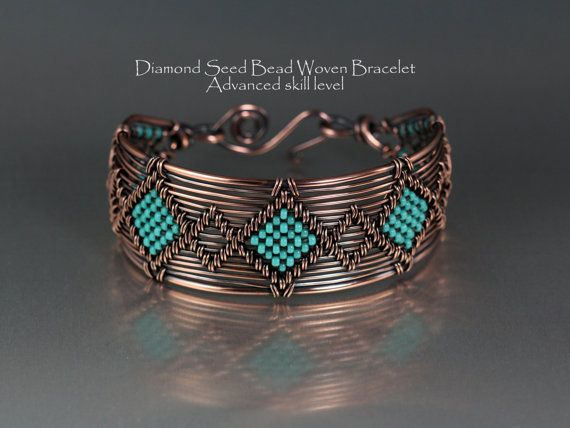 Woven Copper Bracelet with Seed Bead Design by LisaBarthJewelry