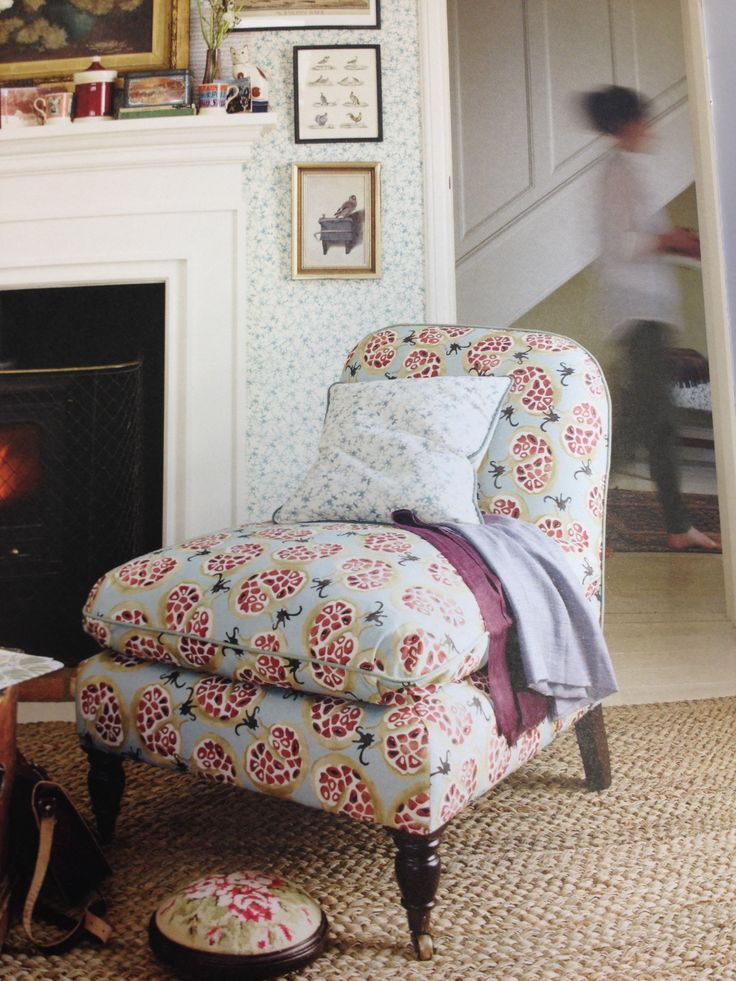 """Pomegranate"" fabric on upholstery. EmmaBridgewater"