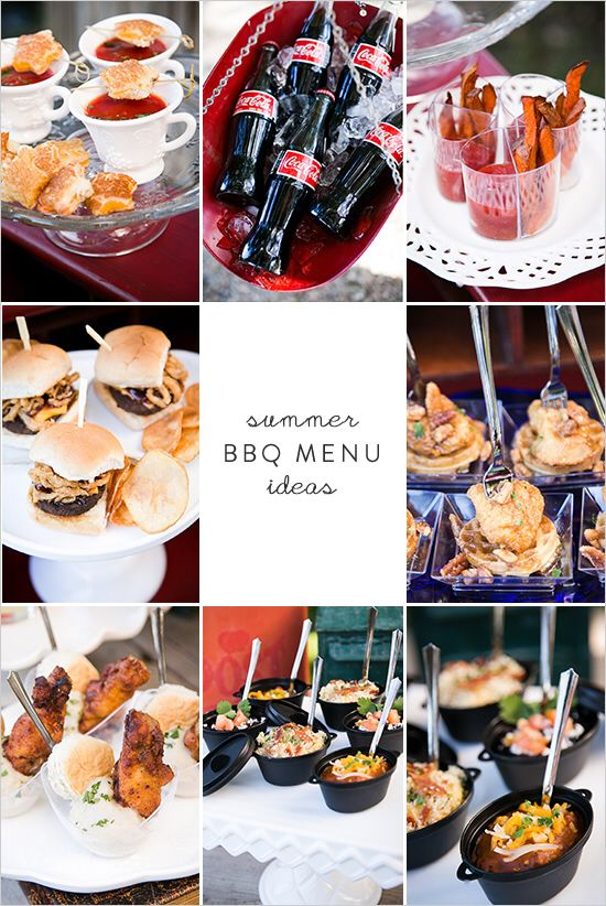 Summer BBQ Menu Ideas- star shaped grill cheeses with cups of tomato soup sweet potato fries and dipping sauce mini sliders and homemade potato chips chicken and waffles mashed potatoes, chicken, and biscuits mini chillies  http://www.weddingchicks.com/2014/06/24/red-white-and-blue-wedding-ideas/