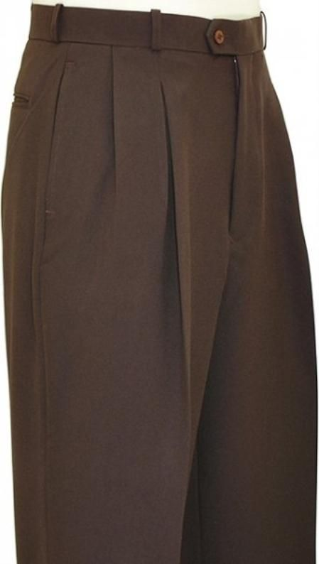 1930s Style Men's Pants Pleated Wide Leg Pants Wool-feel Chocolate Brown Mens TrousersSlacks Cheap $59.00 AT vintagedancer.com